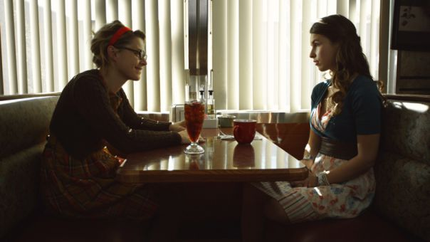 Sophia Takal and Amy Seimetz star in Coffee and Pie, a women's short being shown at the Screening Room on Saturday as part of this year's Reelout Festival.