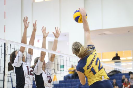 The women's volleyball team sits third in the OUA with two games left.