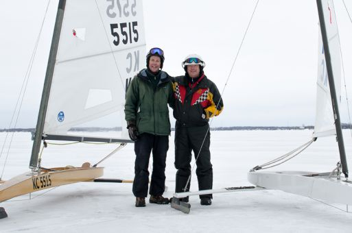 Jim Foster (left) and Peter Van Rossem (right) spent last Saturday sailing on Lake Ontario's frozen surface.