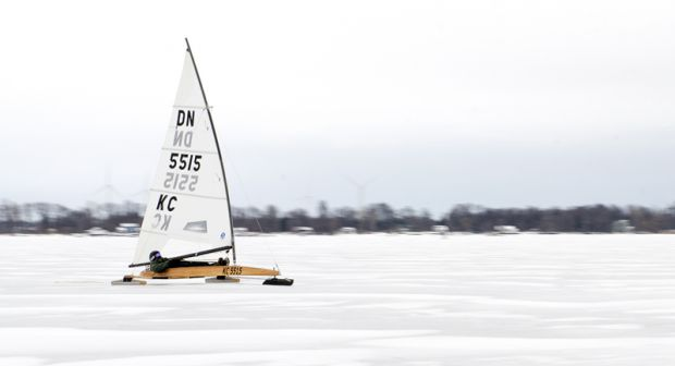 The Kingston Ice Boaters fleet was started about four years ago. The group of 20 ice boaters regularly take their boats to the ice for races and recreational use.