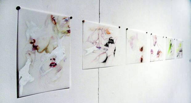 Artists Audrey Assad and Rosalind Breen use oil on canvas paintings and gel glosses to depict the theme of physical representation.