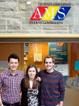 Starting from the left, Tristan Lee, Vice President (Operations), Arts' 13, Mira Dineen, Vice President of University Affairs, Arts'12 , and President Doug Johnson, Arts'12.