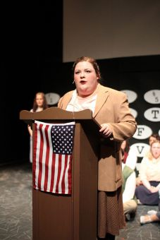 Drama student Alyssa Leclair plays the role of The Lecturer in the musical theatre piece Reefer Madness. She is the primary storyteller in the show.