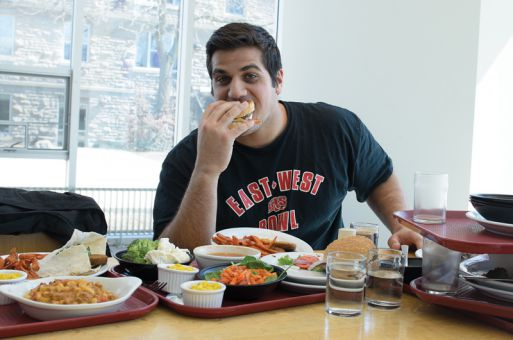Off-season food intake is essential to the weight goals of Gaels defensive lineman John Miniaci. He hopes to start the 2013 season at 280 pounds.