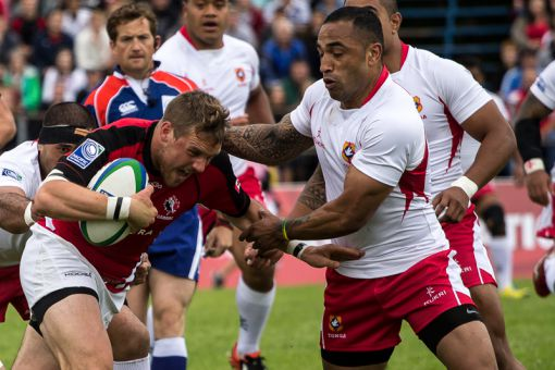 After Tonga was reduced to 14 men for sparking a 34th-minute melee, Canada erupted for three quick tries in the second half.