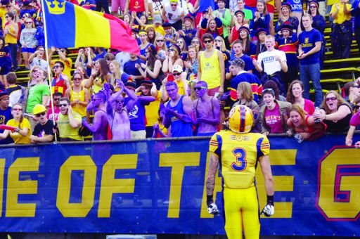 Justin Chapdelaine greets an unofficial homecoming crowd during last year's game against the Western Mustangs.