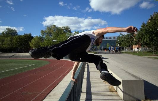 Brandon Beauchesne-Hébert practising a speed vault at Tindell Field.