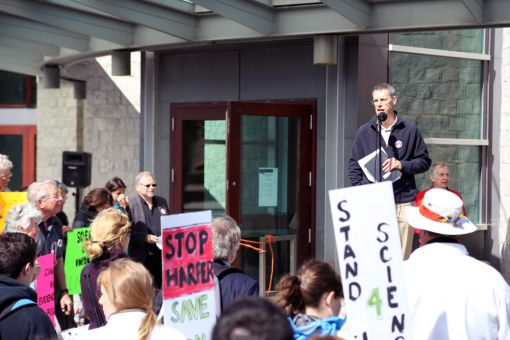 Approximately 200 people attended the rally in front of Stauffer Library yesterday.