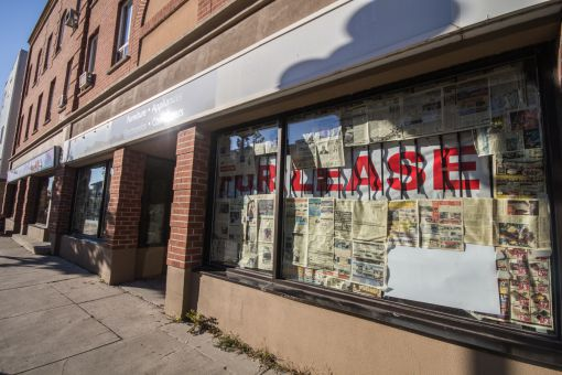 Many businesses on Princess St. have closed, leaving many storefronts waiting to be leased.