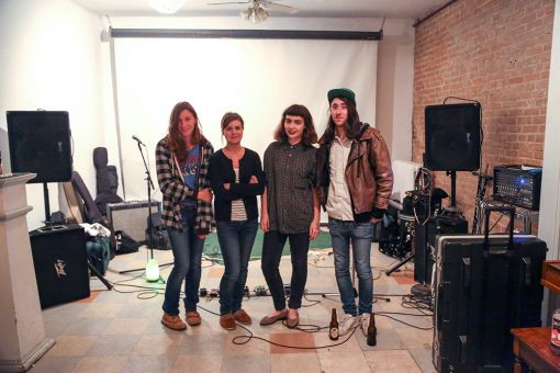 Four of The Artel's collective members, Emily Zielke, Magdalena Slabosz, Annie Dunsford and Graham Juneau posed after the Doom Squad show.
