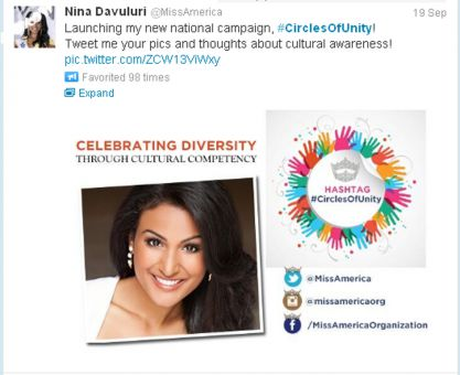 Nina Davuluri, Miss America 2014, launched her Circles of Unity campaign, which celebrates diversity, after being the subject of racist tweets following her pageant win.