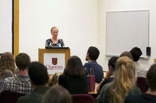 Nancy Austin talks to students on Thursday.