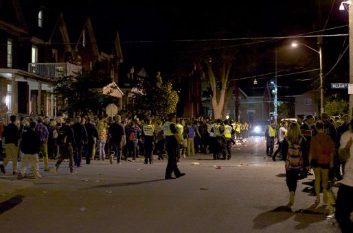 Police tried to keep partygoers off the sidewalks throughout the night.