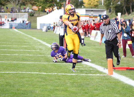 Receiver Scott Macdonell scored with 2:46 left in the fourth quarter to tie the game at 27-27.