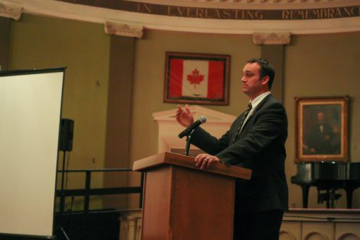Mayor Gerretsen speaking at AMS Assembly on Thursday, at City Hall.