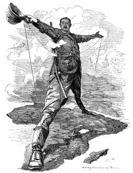 "This cartoon, ""The Rhodes Colossus,"" from the 1890s shows Cecil Rhodes linking Africa from north to south, showing his looming presence over the continent."