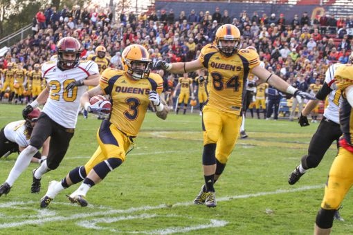 Queen's receivers hauled in three touchdown passes against Guelph.