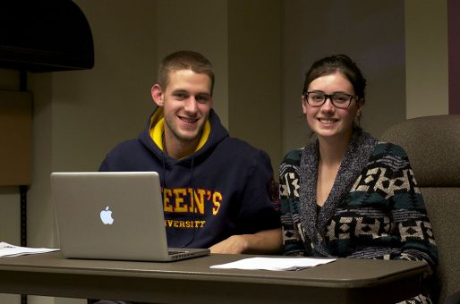 From left to right: Chris Parker, AMS chief returning officer, and Kristen Olver, AMS commissioner of internal affairs.