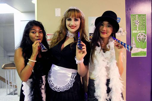 Ellen Handyside (middle) posing with her friends in their Rocky Horror costumes.