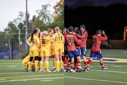 Men's soccer pulled past Nipissing in the final minutes, while the women's win over Laurentian was never in doubt.