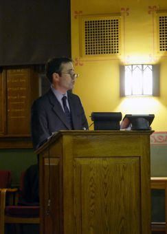John Stackhouse delivering his talk on Wednesday night.