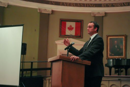 Mark Gerretsen speaking at AMS Assembly earlier this month.