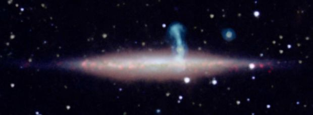 The unnamed galaxy was discovered nearly seven billion years behind UGC 10288.