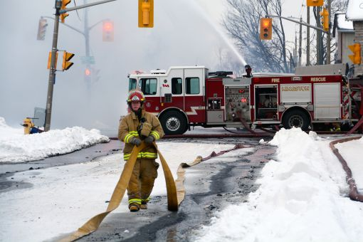 Firefighters responded within minutes when Kingston Fire and Rescue dispatched all available units.