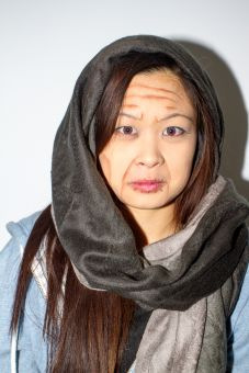 Blogs editor Jessica Chong before and after her age transformation with special effects makeup.