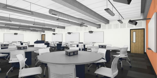 The new classrooms will feature touch-screen monitors.