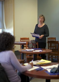 Heidi Penning speaks at the Accessibility Café, which took place on Wednesday at the Common Ground.