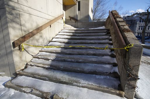 Slippery steps were a result of the ice storm.