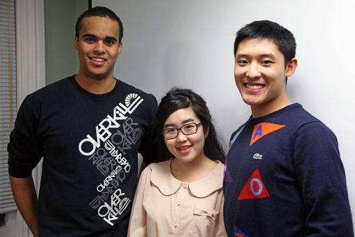 From left to right: Nathan Utioh, Kisook Yoo and Cameron Yung.