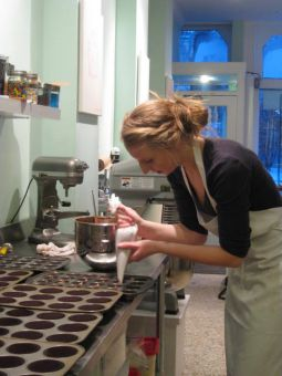 McEver at work in the Cupcakery's kitchen.
