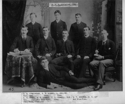 The all-male AMS Executive team of 1888 gather for a classic portrait.