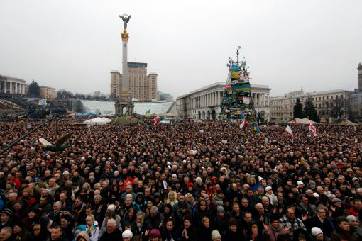 Protesters fill Independence Square in Kiev, Ukraine to demonstrate against corruption in the country.