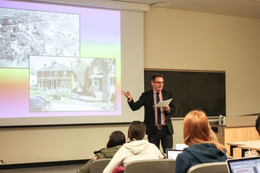 Professor Steven Maynard gave a talk Monday for pride month.