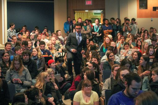 Students cram into Ellis Hall Auditorium to listen to Janice Fiamango discuss men's issues.
