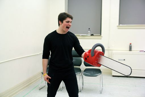 The chainsaw hand: a featured prop.