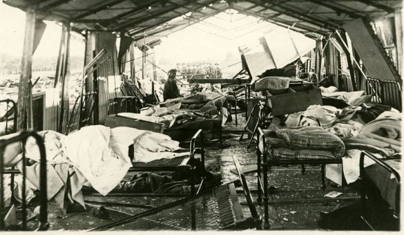 Queen's field hospital in Etaples, France was bombarded during an air raid in 1918.