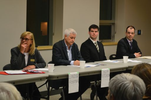 From left: Lindsey Foster, Rob Hutchison, Ryan Low and Jordan West. The fifth candidate, Sean Murphy, wasn't present.