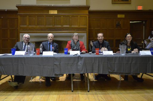 From left: Rick Downes, Scott Foster, Dorothy Hector, Bryan Paterson and Brenda Slomka. The sixth candidate, Michael J. M. Owen, was absent.
