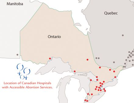 A map of Ontario hospitals offering abortion services.