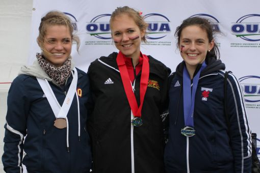 Julie-Anne Staehli (left) finished on the podium for the second consecutive year, snagging the bronze medal.