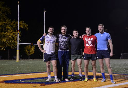 Men's rugby veterans (from left to right) Jacob Rumball, James Dent, Brendan Sloan, David Worsley and Tommy Kirkham are gunning for a third straight OUA championship.