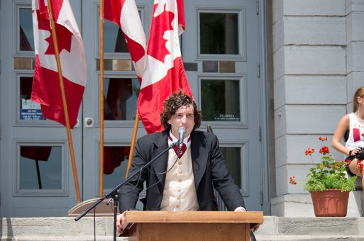 A Sir John A. Macdonald impersonator at City Hall on Canada Day.