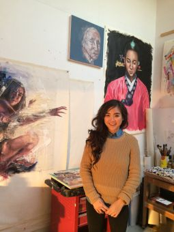 Cindy Kwong pictured above with her artwork.