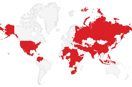 A map displaying countries that have or are experiencing genocides.