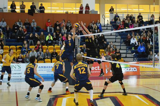 The Waterloo Warriors established a strong blocking game to defeat the Gaels in four sets.