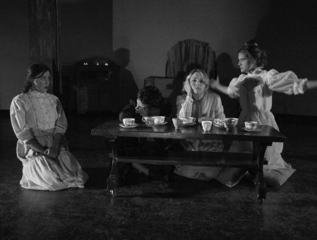 Madison Horton (far left), who plays the role of Alice, and her fellow co-stars in action.
